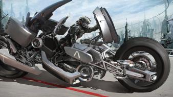 Futuristic motorbikes vehicles wallpaper