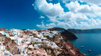 Greece santorini clouds houses rocks wallpaper