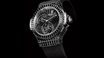Hublot geneve black background brands clocks wallpaper