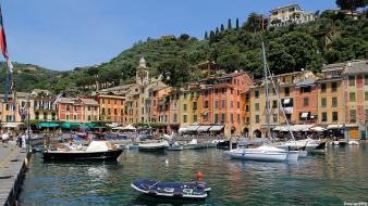 Italy houses port portofino wallpaper