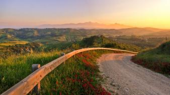 Italy sun fields landscapes mountains Wallpaper