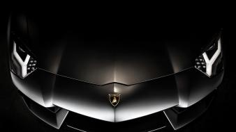 Lamborghini aventador black cars front view wallpaper