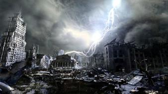 Metro last light apocalypse cityscapes destroyed digital art Wallpaper