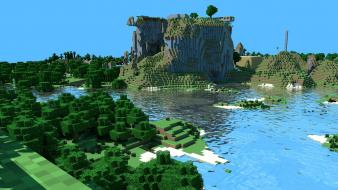 Minecraft cinema 4d copyright forests mountains wallpaper