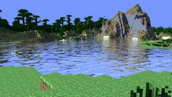 Minecraft cinema 4d jungle tapeta water wallpaper