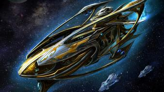 Protoss starcraft ii artwork carrier outer space wallpaper