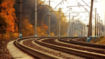 Railroad tracks trainway Wallpaper