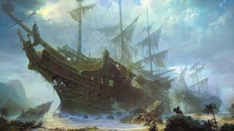 Shuxing li artwork fantasy art sailing ships wallpaper