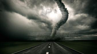 Tornado clouds highways roads storm wallpaper