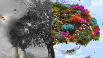 Abstract artwork peace trees war wallpaper