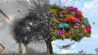 Abstract peace trees war wallpaper
