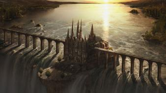 Artwork bridges castles fantasy art waterfalls wallpaper