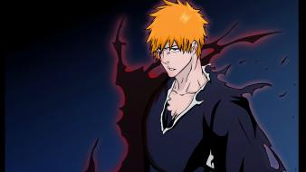 Bleach kurosaki ichigo flames orange hair wallpaper
