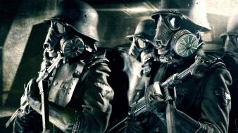 Iron sky nazi gas masks movie stills soldiers wallpaper