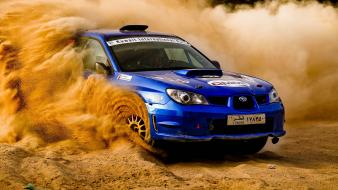 Subaru impreza wrc blue cars dust gravel wallpaper