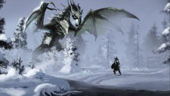 The elder scrolls v skyrim dragons Wallpaper