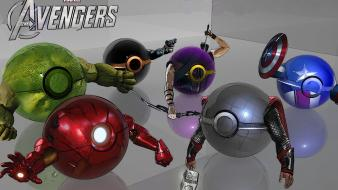 America black widow hawkeye marvel avengers pokeball wallpaper
