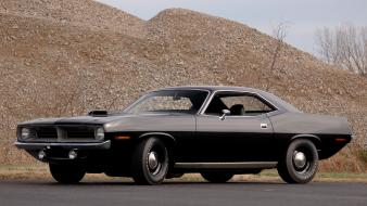 Black muscle cars plymouth barracuda 1970 wallpaper