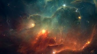 Blue clouds outer space red stars digital art wallpaper