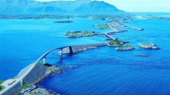 Bridges norway islands european sea wallpaper