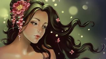 Brunettes women artwork flower in hair wallpaper