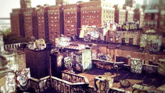 Cityscapes graffiti urban buildings manhattan tilt-shift wallpaper