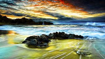 Clouds landscapes beach wallpaper