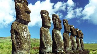 Clouds landscapes grass statues easter island moai Wallpaper
