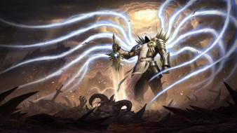 Diablo iii characters swords tyrael archangel angel wallpaper