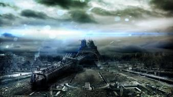 Eiffel tower design destruction cities alexander koshelkov wallpaper