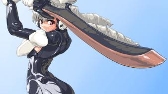 Eyes gray girls busou shinki swords silver wallpaper