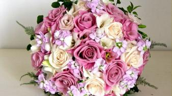 Flowers composition bouquet roses freesias Wallpaper