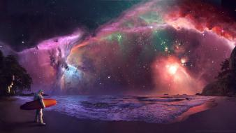 Galaxies nebulae surfing astronauts lakes surfers cosmic Wallpaper