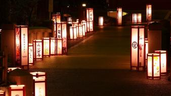 Japan night lanterns wallpaper