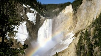 Landscapes falls wyoming yellowstone waterfalls national park colors wallpaper
