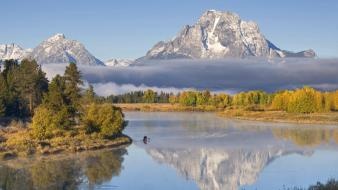 Landscapes nature wyoming grand teton national park canoe wallpaper