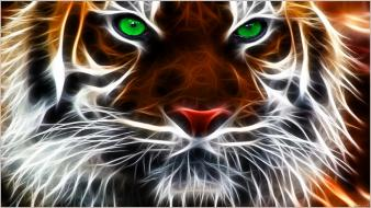Light eyes tigers fractalius green bengal photomanipulation wallpaper
