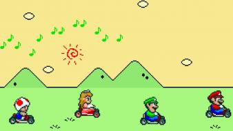 Mario super luigi princess peach kart nintendo 16-bit Wallpaper