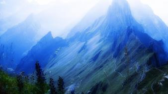 Mountains landscapes snow grass fog plants switzerland wallpaper