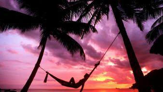 Nature silhouette paradise relaxing hammock palm trees Wallpaper