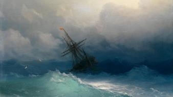 Paintings clouds storm ships sinking sail ship sea wallpaper
