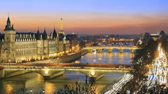 Paris france bridges rivers seine cities view wallpaper