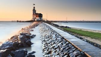 Shore lighthouses holland the netherlands view sea wallpaper