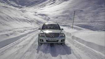 Snow suv front view mercedes-benz glk-class mercedes benz wallpaper