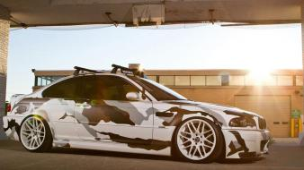 Sunset cars camouflage vehicles wallpaper