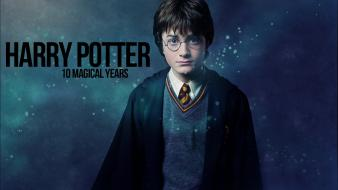 Typography harry potter magic daniel radcliffe blue background wallpaper