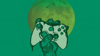 Undead zombies moon xbox artwork controller birds wallpaper