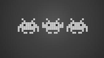 Abstract video games space invader simple background grey wallpaper