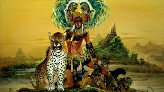 Art chris artwork leopards maya indian achilleos wallpaper