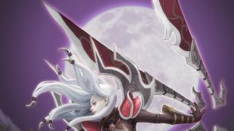 Blade red eyes bodysuits irelia gray skyscapes wallpaper